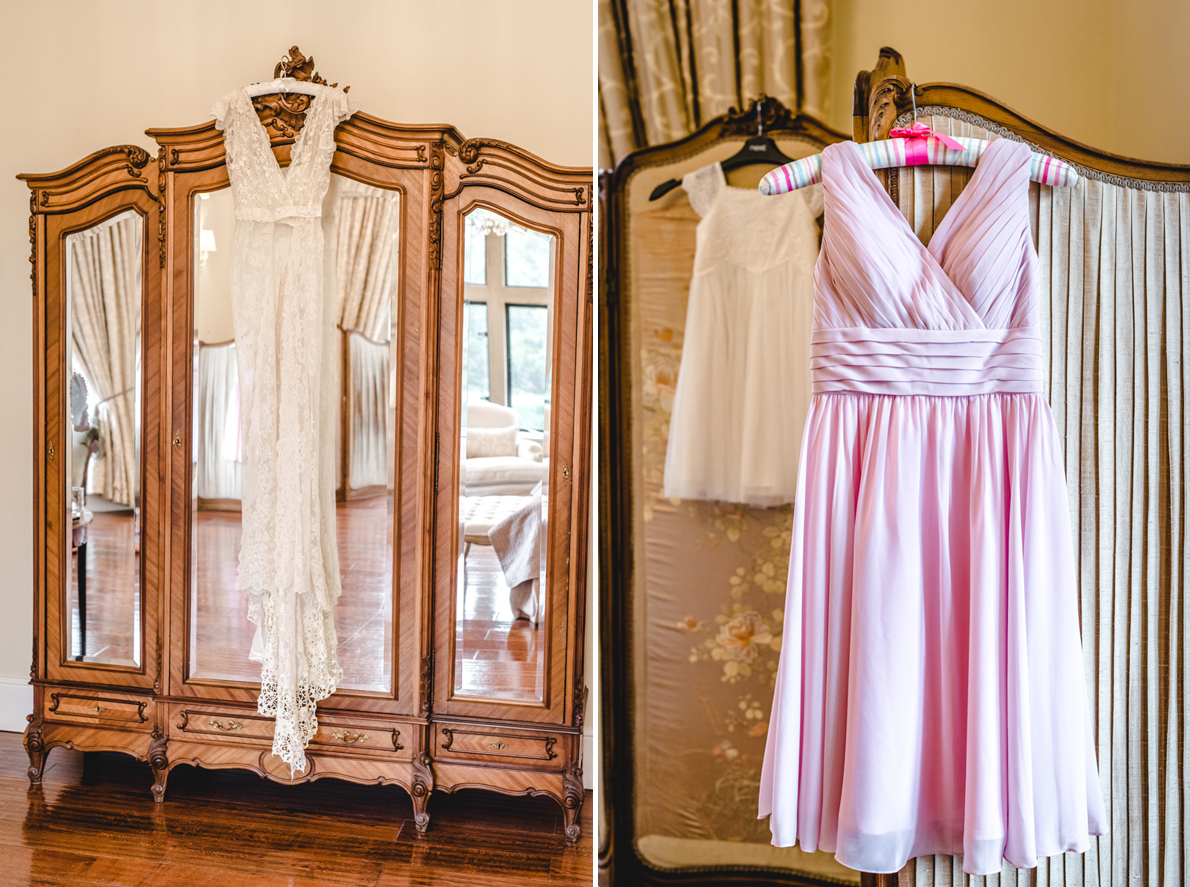 dresses hanging up at old down manor
