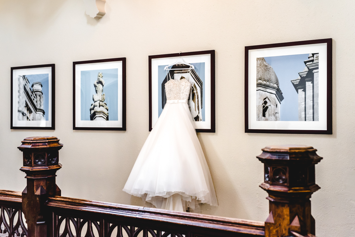 Wedding dress hanging at Tortworth Court