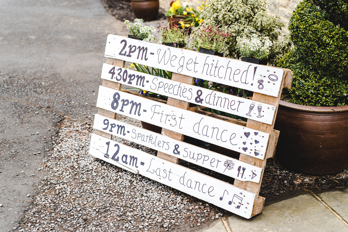 kingscote barn order of the day sign
