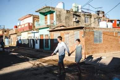 Couple walking in Trinidad