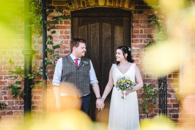 Bride and Groom at Priors Tithe Barn