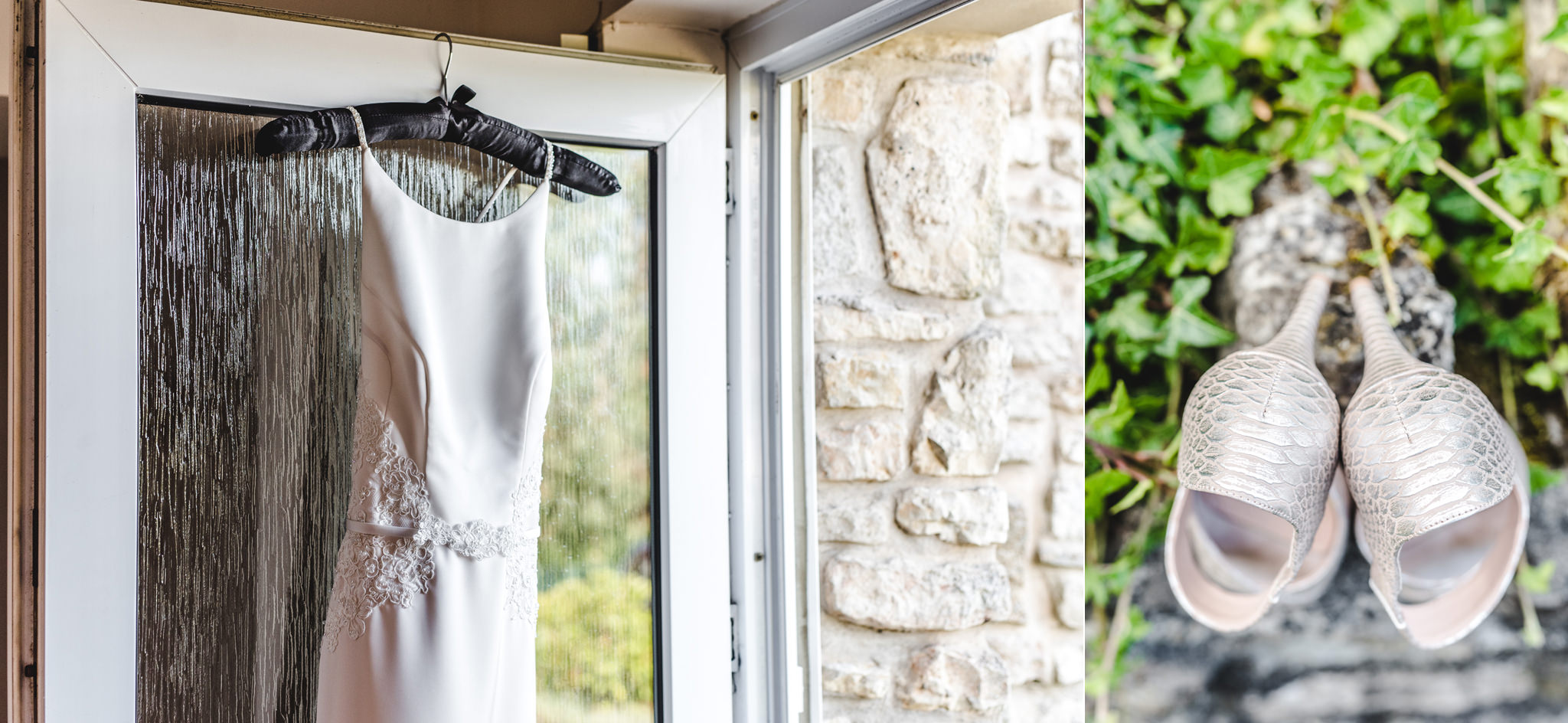 A wedding dress and shoes hanging up on a door
