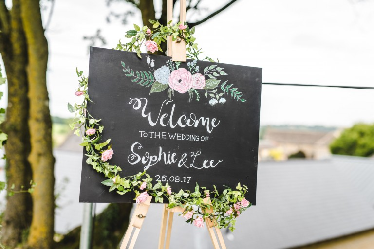 A Welcome to our wedding sign at the barn at upcote