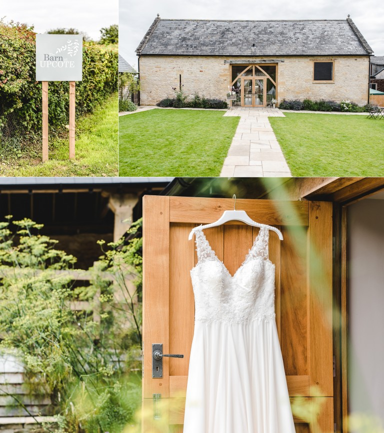 A wedding dress hanging up at upcote barn