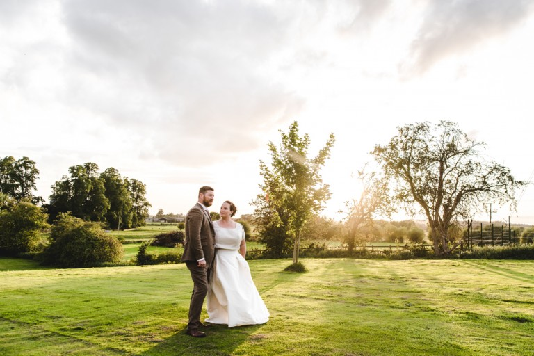 A couple after getting married at the Bell at Alderminster