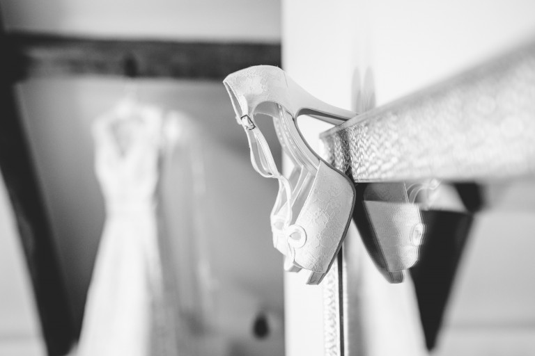Bridal shoes in the Kingscote Barn bridal suite