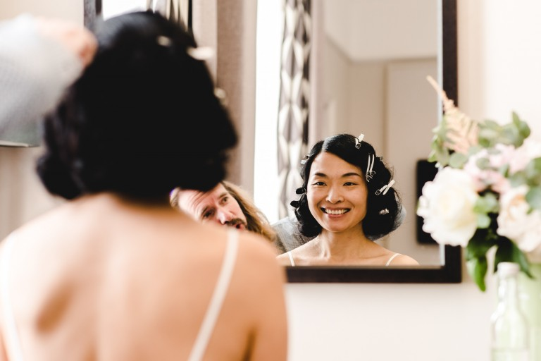 Bride getting ready at The Queen's Hotel in Cheltenham