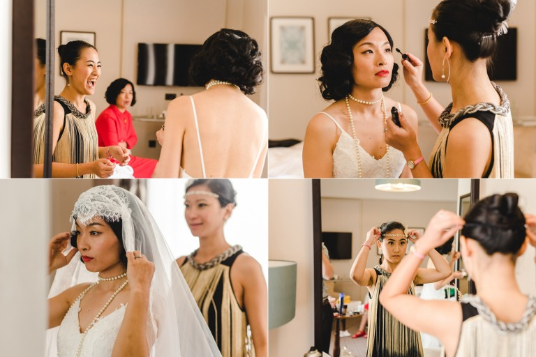Bride getting ready for a Gloucestershire wedding