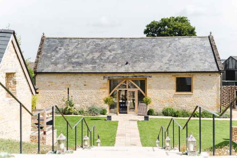 A front view of The Barn at Upcote wedding venue