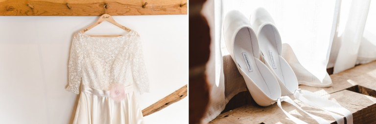 Dress and shoes hung up at a Curradine Barns wedding