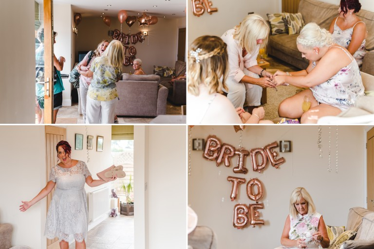 Bridesmaids doing their nails ahead of a Kingscote wedding