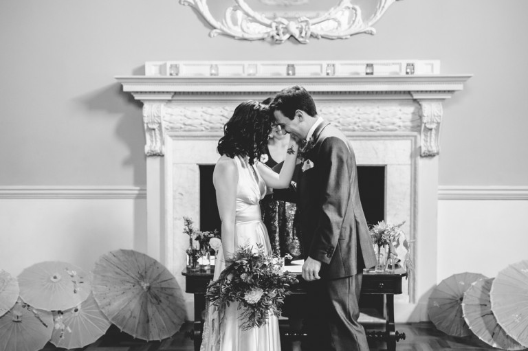 A couple just married at Bath assembly rooms