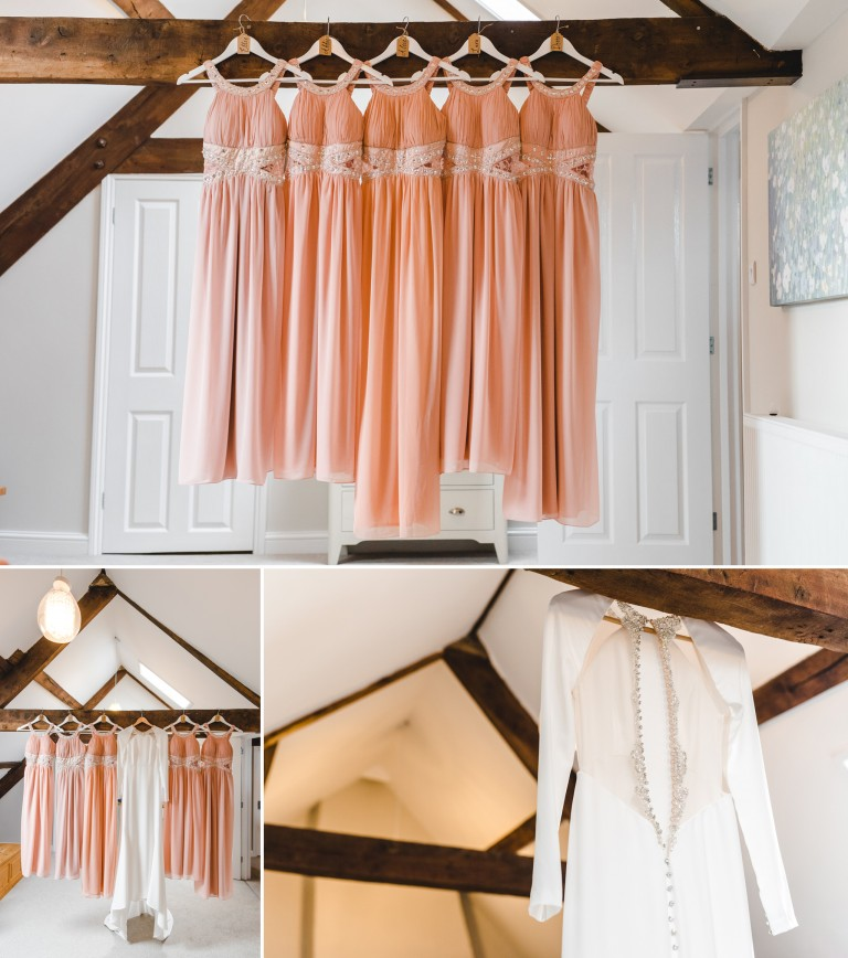 Wedding dresses hanging up at Brook House in Berkeley