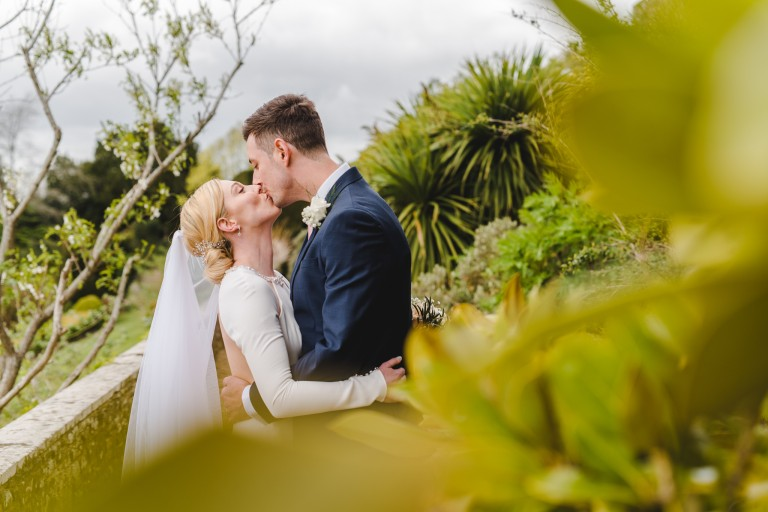A bride and grom at their Berkeley Castle wedding
