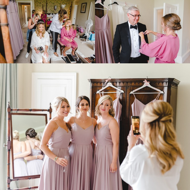 A bride and her bridesmaids getting ready for a wedding