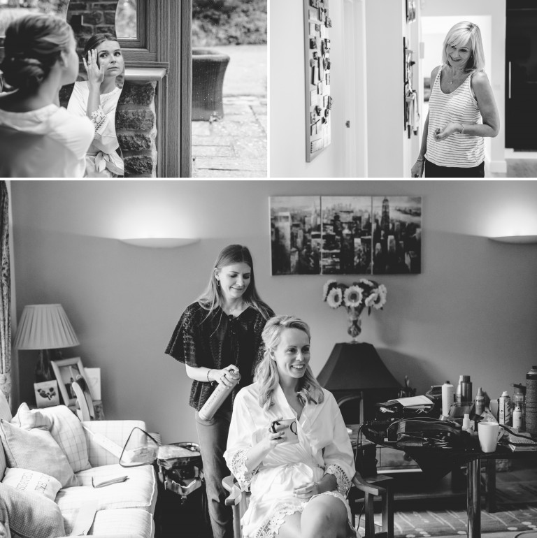 Bride getting ready for her Great Tythe Barn wedding