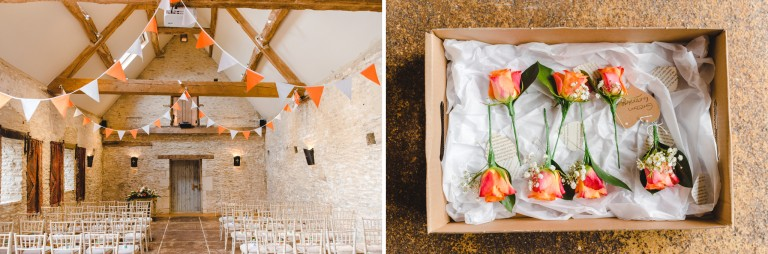 Wedding ceremony room set up at Oxleaze Barn