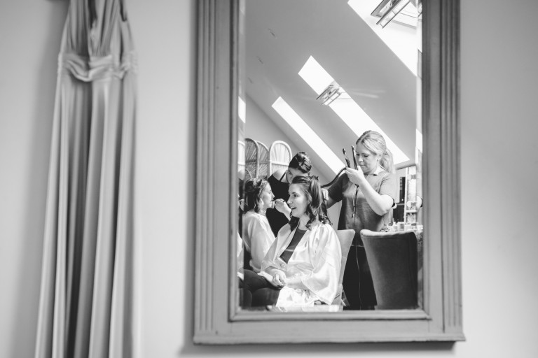 A bride getting ready for her wedding at Hyde House