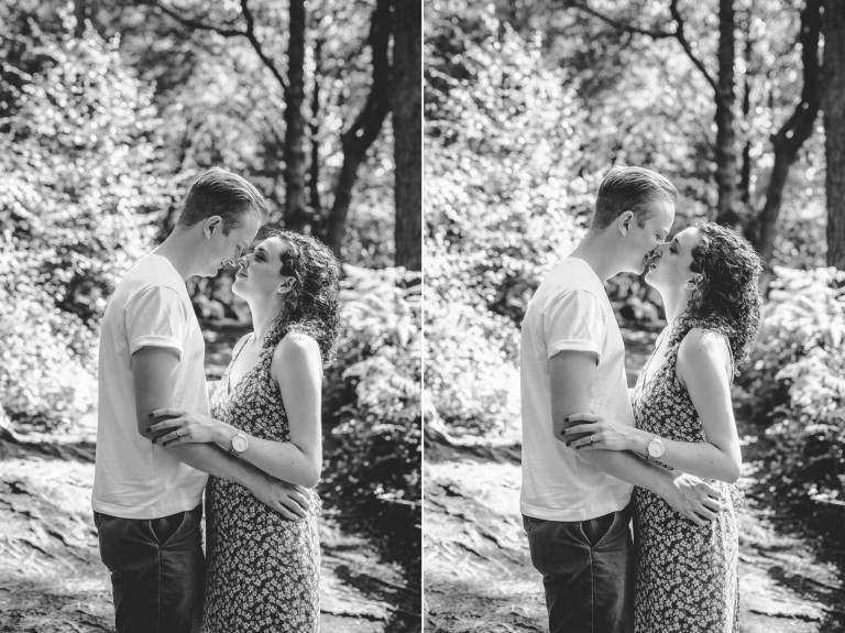 Two black and white images of a couple on their surrey engagement shoot