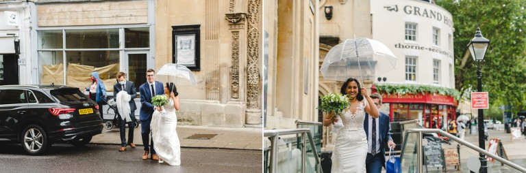 A bride and groom arriving at their micro wedding ceremony at Bristol Registry Office