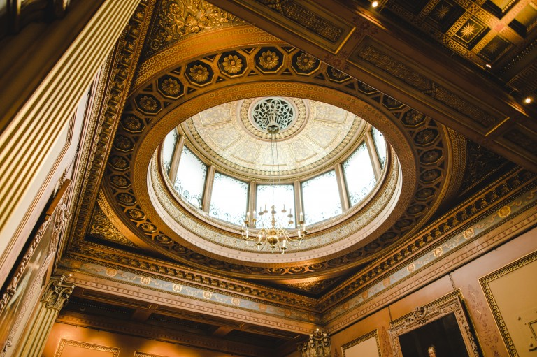 The ceiling of the ceremony room in Bristol registry office
